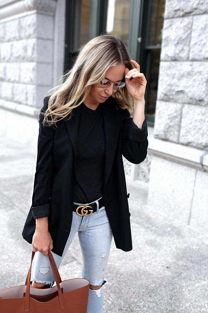 Fall Denim Style: Gucci Belt and Cuyana Structured Tote, Helena of Brooklyn Blonde