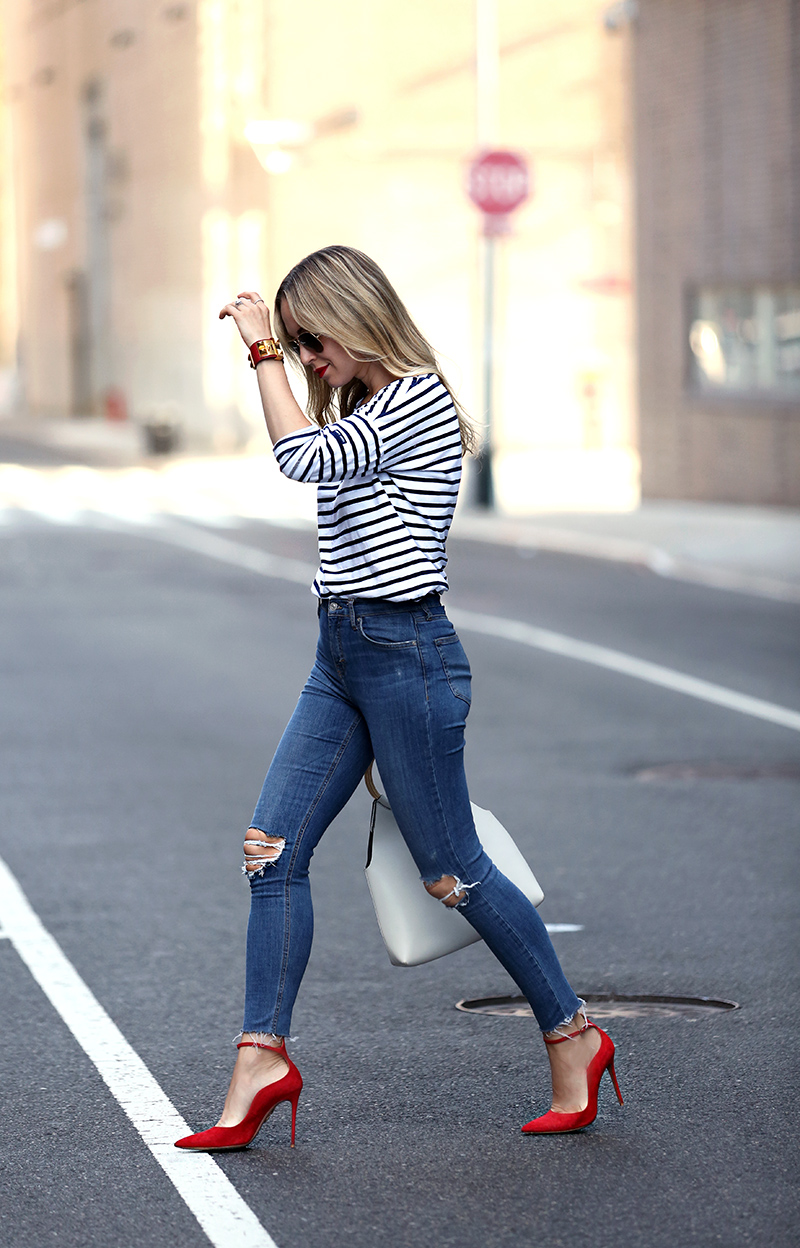 Saint James striped tee, high waisted jeans, and red Aquazzura pumps