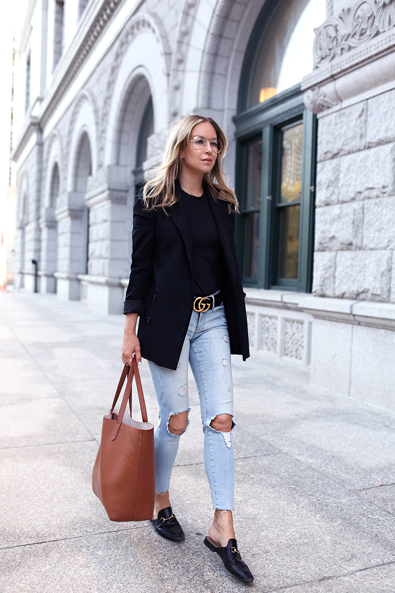 Fall Denim Style: Gucci Loafers and Cuyana Structured Tote. Helena of Brooklyn Blonde