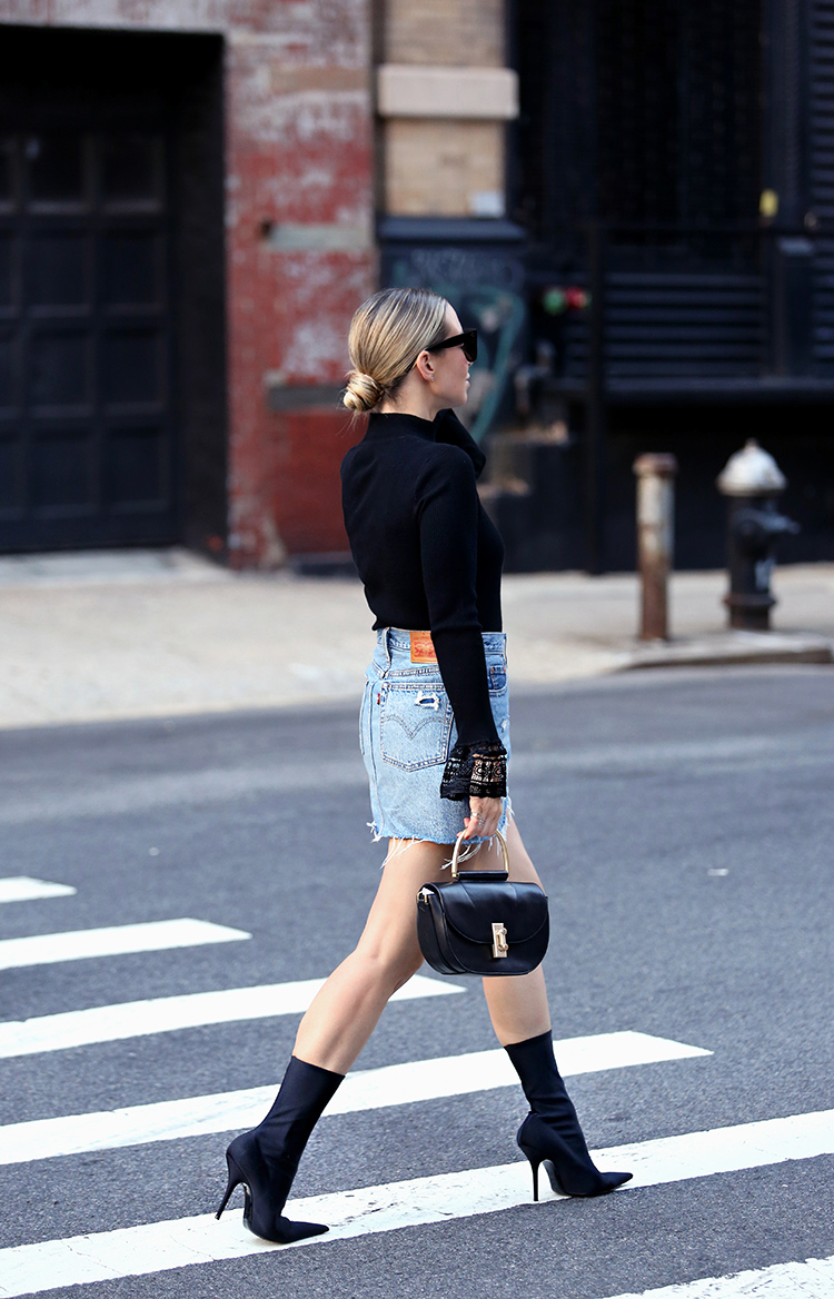 Balenciaga Boots and Levis Denim Skirt