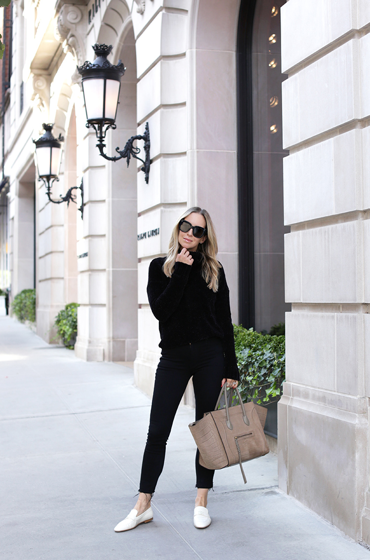 fa948703539f All Black Outfit with White Shoes. How To Style White Loafers.