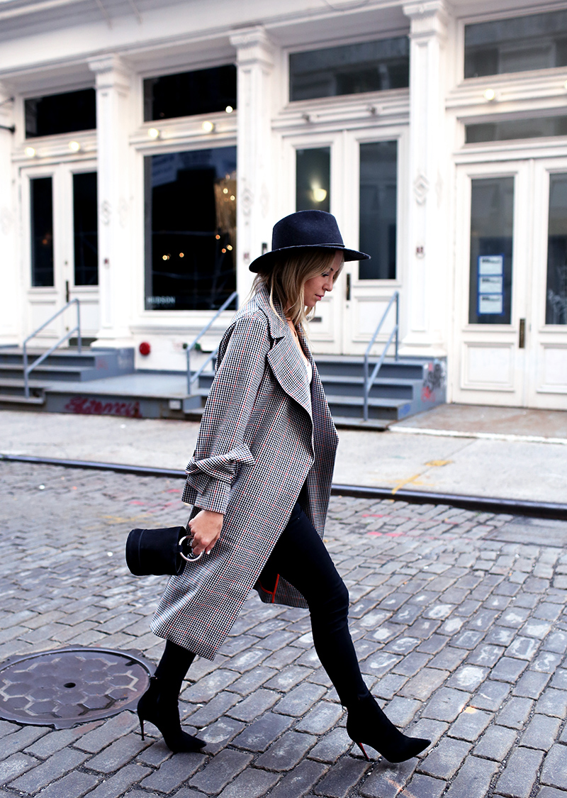 Fall Style Inspiration: Plaid Trench Coat, Simon Miller Bag, Rag & Bone Hat. Helena from Brooklyn Blonde