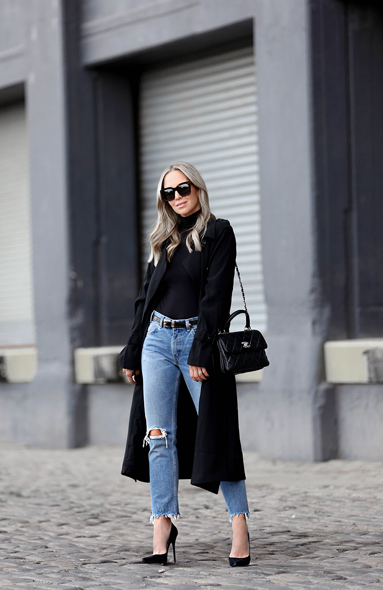 Fall Outfit Inspiration, Black Trench Coat, Levis Denim, Helena of Brooklyn Blonde