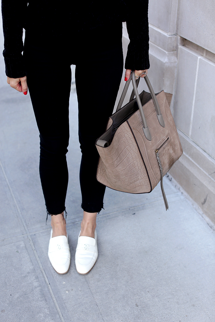 White Chanel Loafers and Celine Phantom Bag | Helena Glazer of Brooklyn Blonde