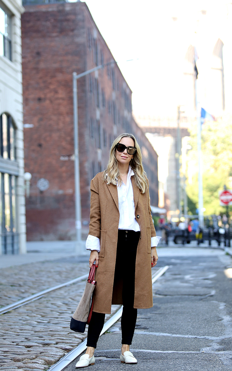Fall/Winter Outfit Inspiration, Camel Coat, White Loafers, Helena of Brooklyn Blonde