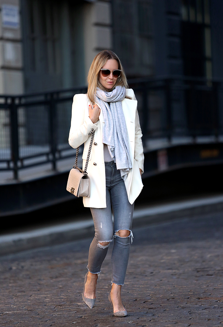 Fall/Winter Outfit Inspiration, White Blazer, Grey Denim, Helena of Brooklyn Blonde