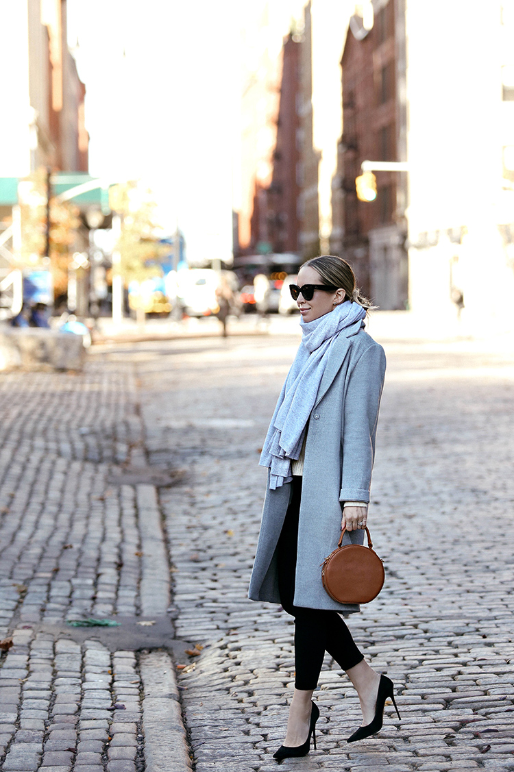 Fall Winter Outfit Inspiration, Grey Coat, Cashmere Scarf, Helena of Brooklyn Blonde