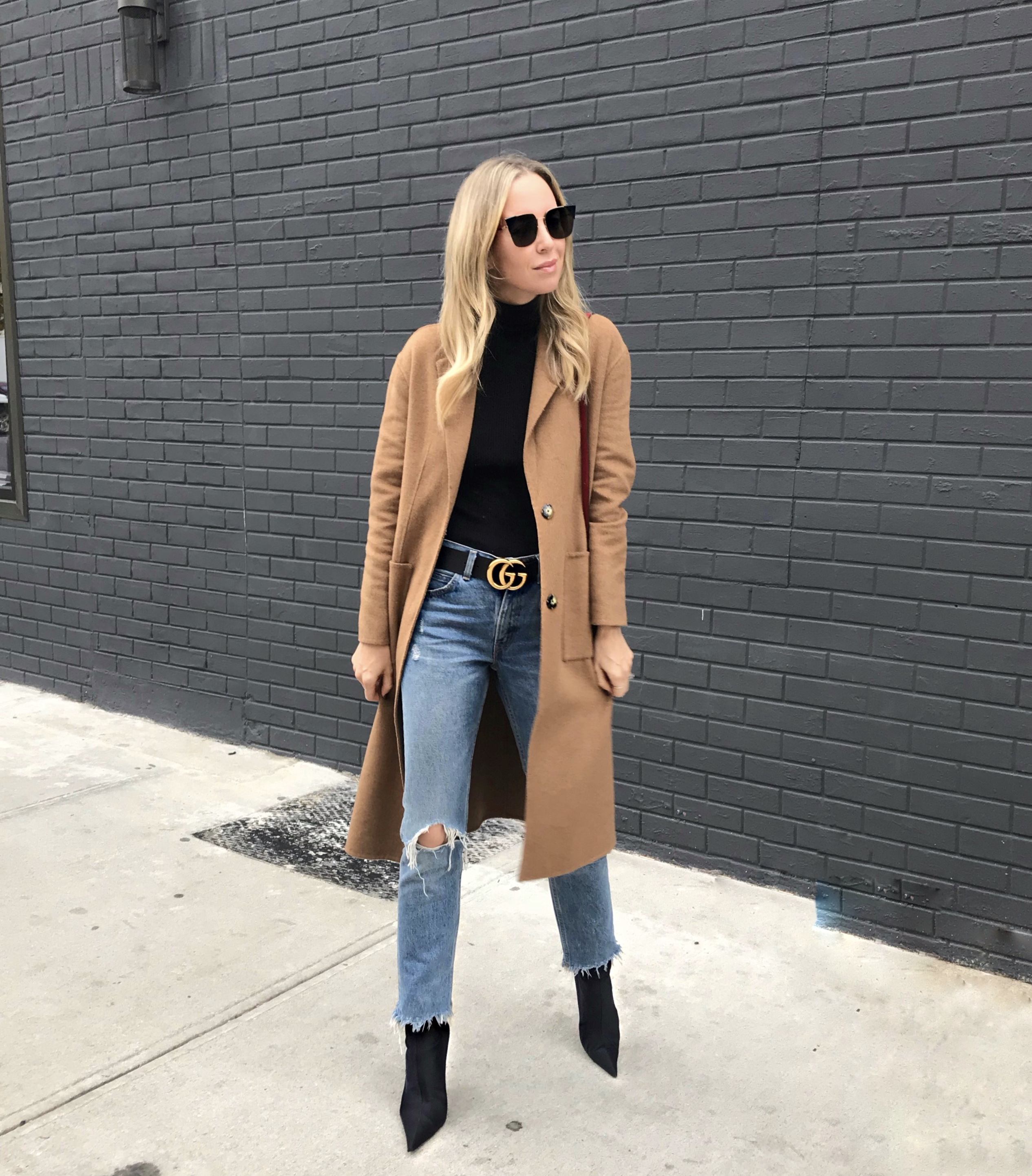 Camel Coat and Gucci Belt, Helena Glazer of Brooklyn Blonde