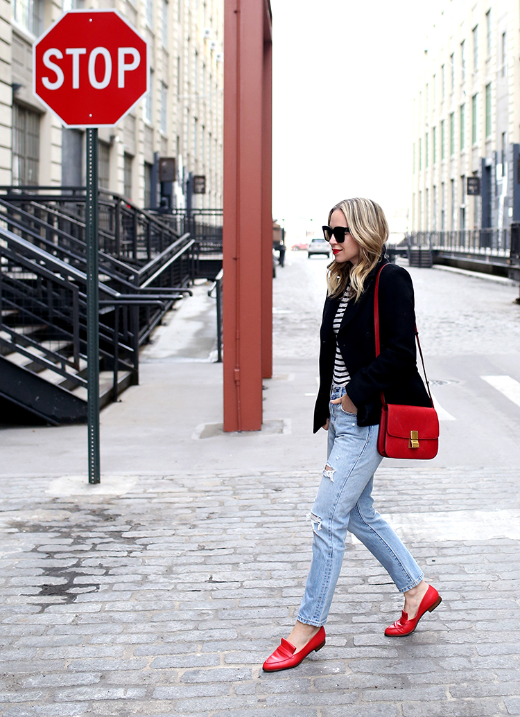 Winter Outfit, Parisian Inspired, Stripes, Sarah Flynt Red Loafers, Helena of Brooklyn Blonde