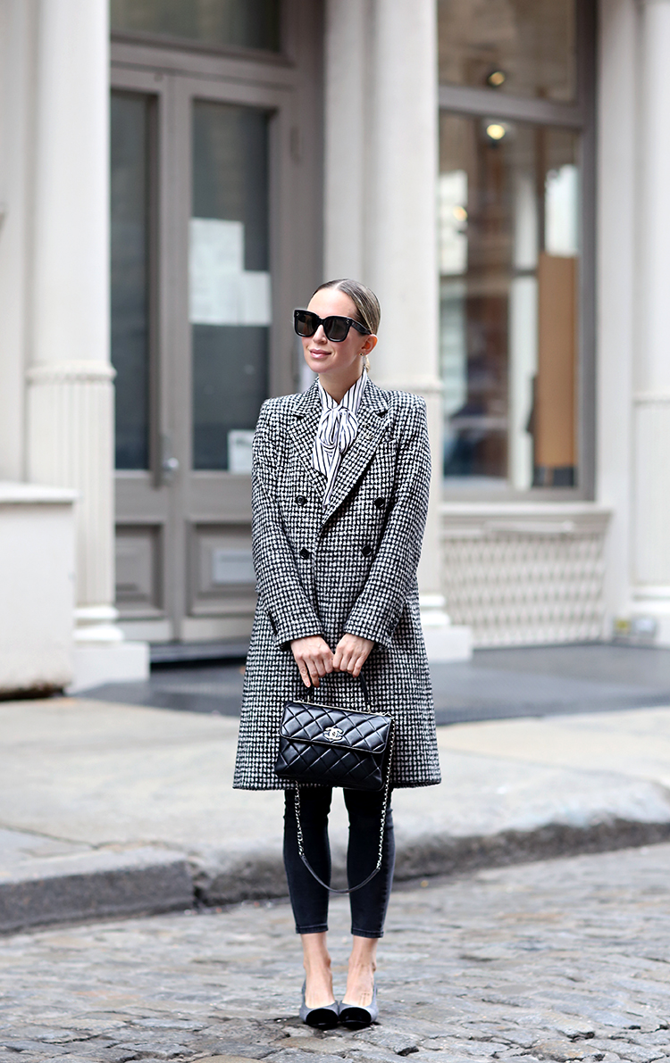 Winter Style, Check Print Coat, Chanel Bag, Helena of Brooklyn Blonde