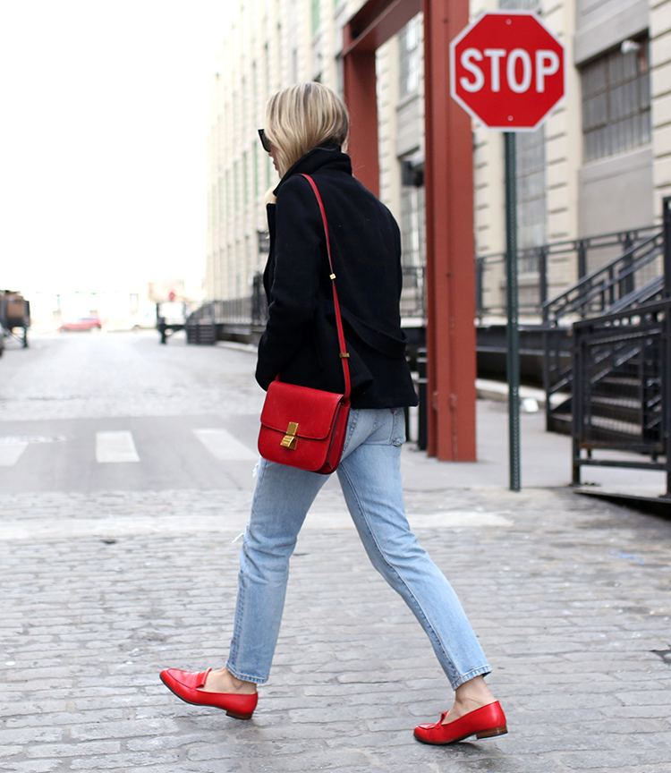 Peacoat Outfit, Red Loafers, Helena of Brooklyn Blonde