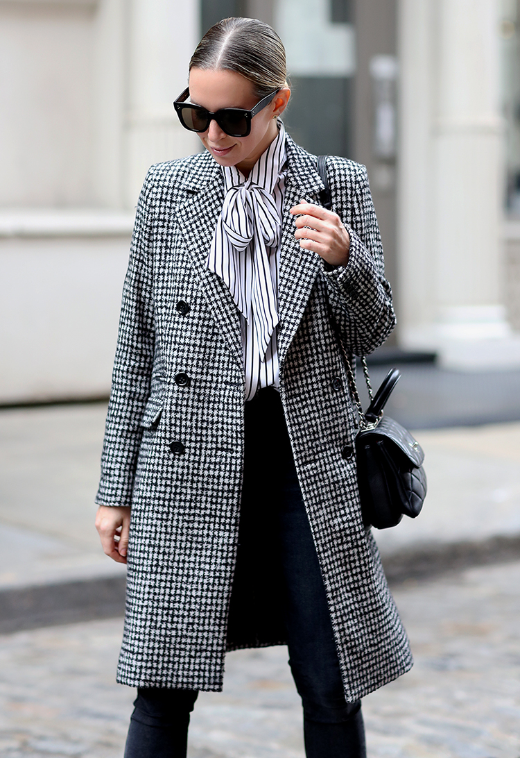 Kooples Check Print Coat, Striped Blouse, Helena of Brooklyn Blonde