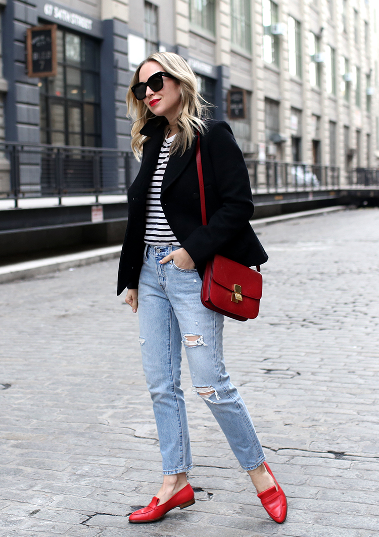 Parisian Inspired Outfit, Stripes, Red Loafers, Helena of Brooklyn Blonde
