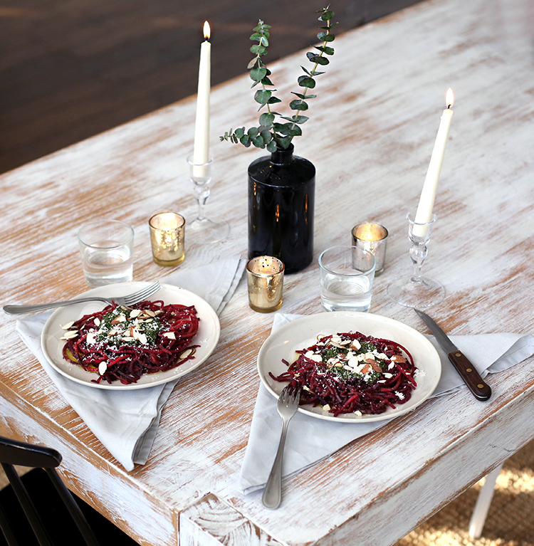 KitchenAid Standing Mixer, Food Recipes, Spiralized Beet Noodles Tablescape, Helena of Brooklyn Blonde