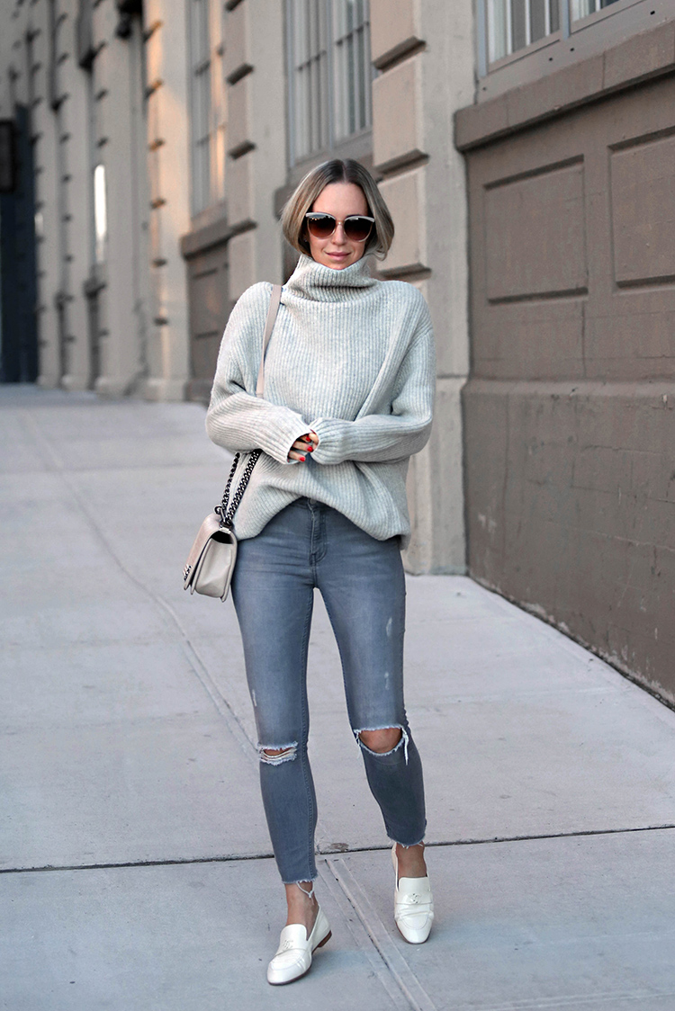 Grey Monochromatic Outfit, White Chanel Loafers, Ivory Chanel boy bag, Helena Glazer from Brooklyn Blonde