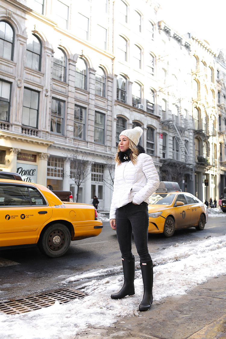 Hunter Boots, Winter Outfit, Helena of Brooklyn Blonde