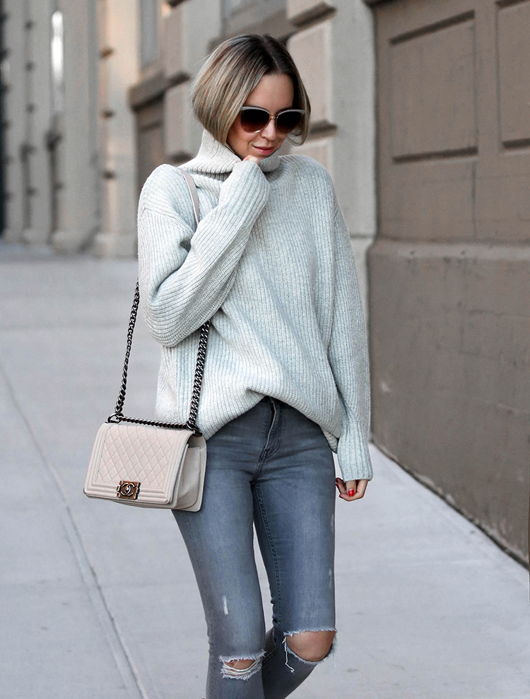 Grey Monochromatic Outfit, Winter Style, Turtleneck Sweater, Chanel Bag, Helena of Brooklyn Blonde