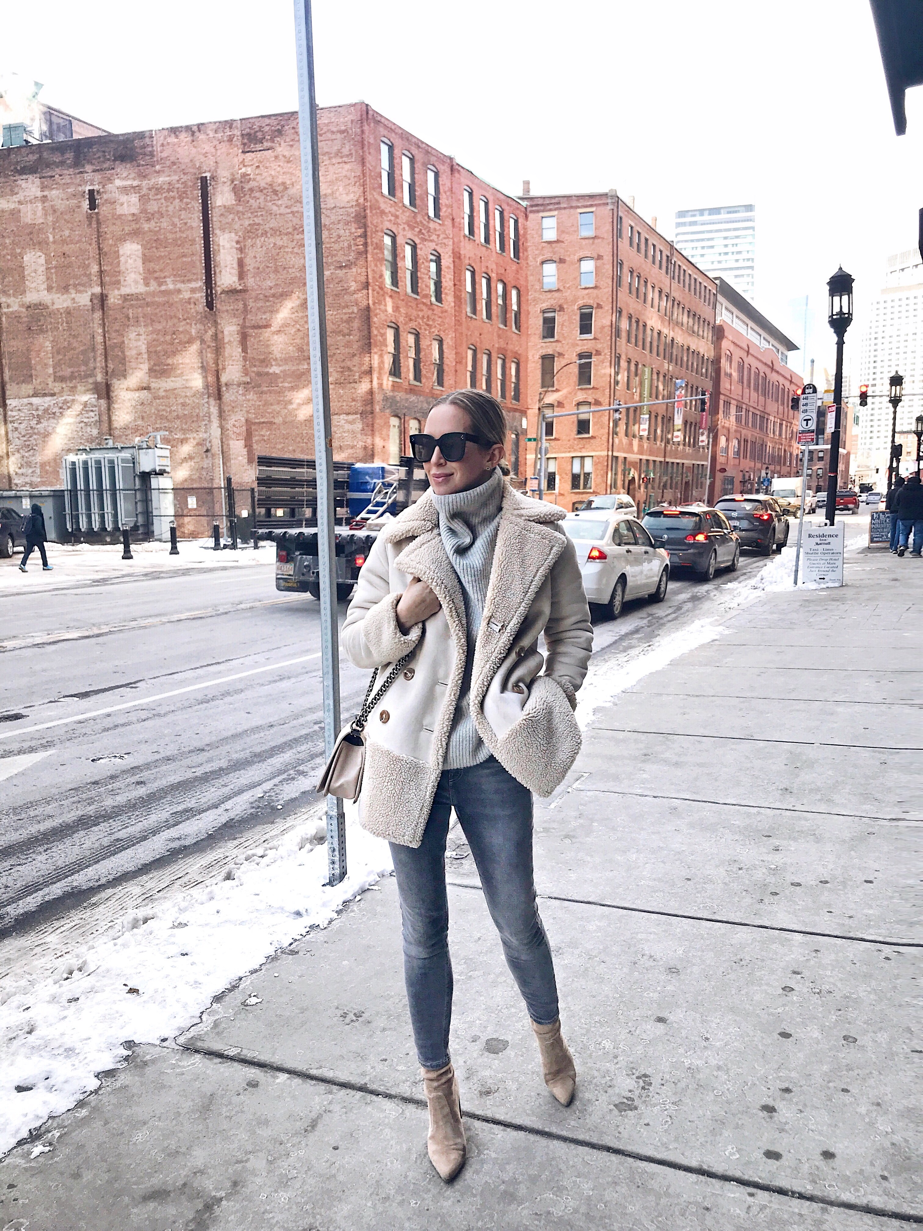 Winter Outfit, Sherpa Coat, Helena of Brooklyn Blonde