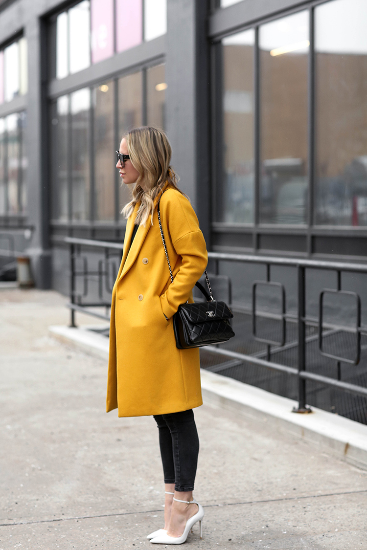 H&M Yellow Coat, Chanel Bag, Helena of Brooklyn Blonde