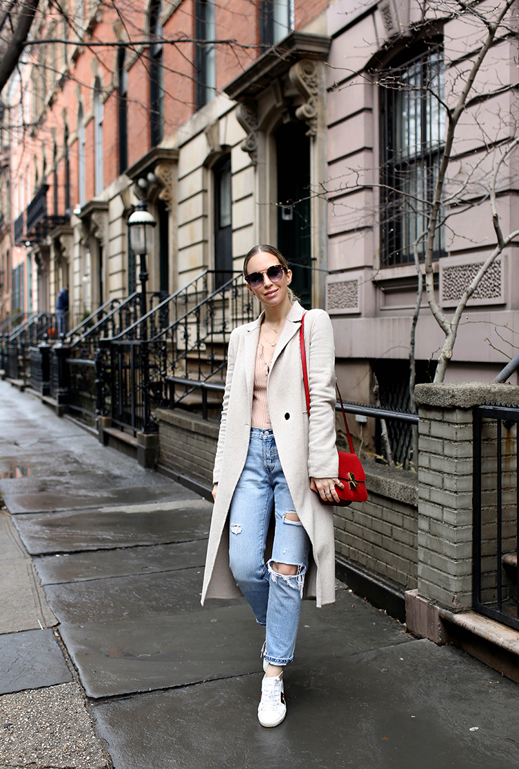 Levi's denim, beige trench coat, Helena of Brooklyn Blonde