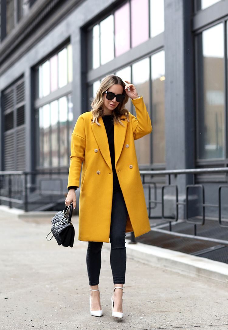 H&M Yellow Coat, Black Outfit, Helena of Brooklyn Blonde