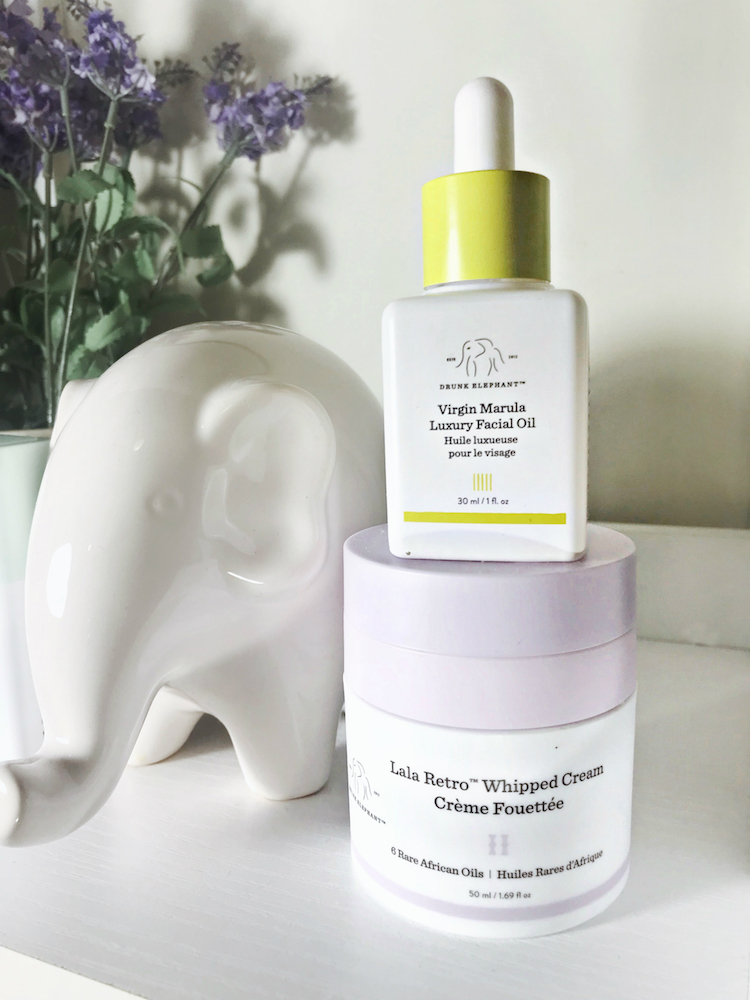 Monthly Beauty Favorites, Drunk Elephant Virgin Marula Luxury Facial Oil, Lala Retro Whipped Cream, Helena of Brooklyn Blonde