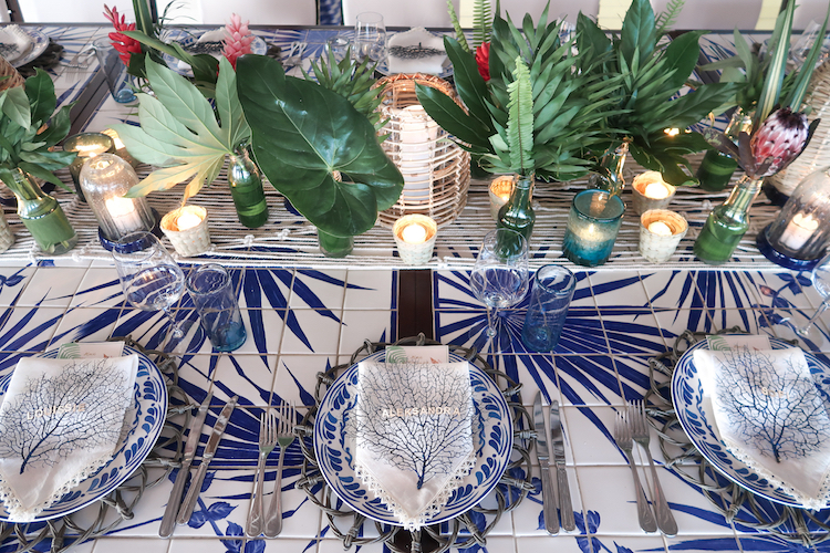 Blue Flatware, Tablescape, Aerin, Tulum, Helena of Brooklyn Blonde