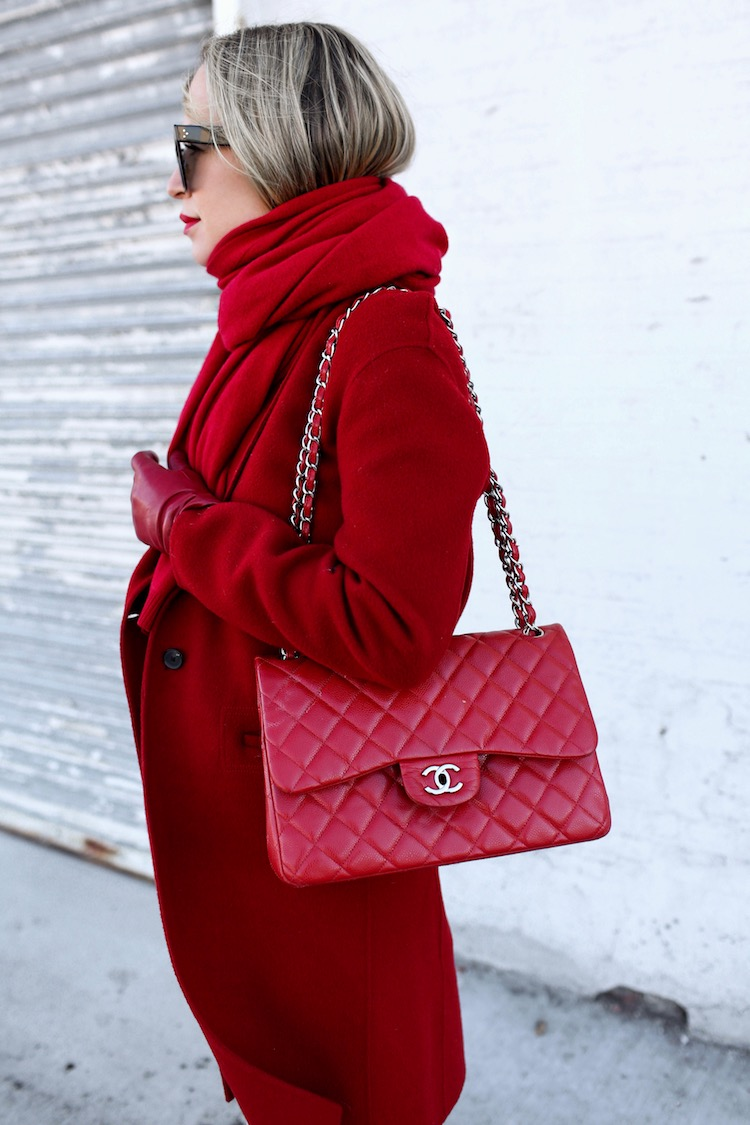 Now Arriving Rich Ruby Red Cashmere Scarf, Red Coat, Red Chanel Bag, Helena of Brooklyn Blonde