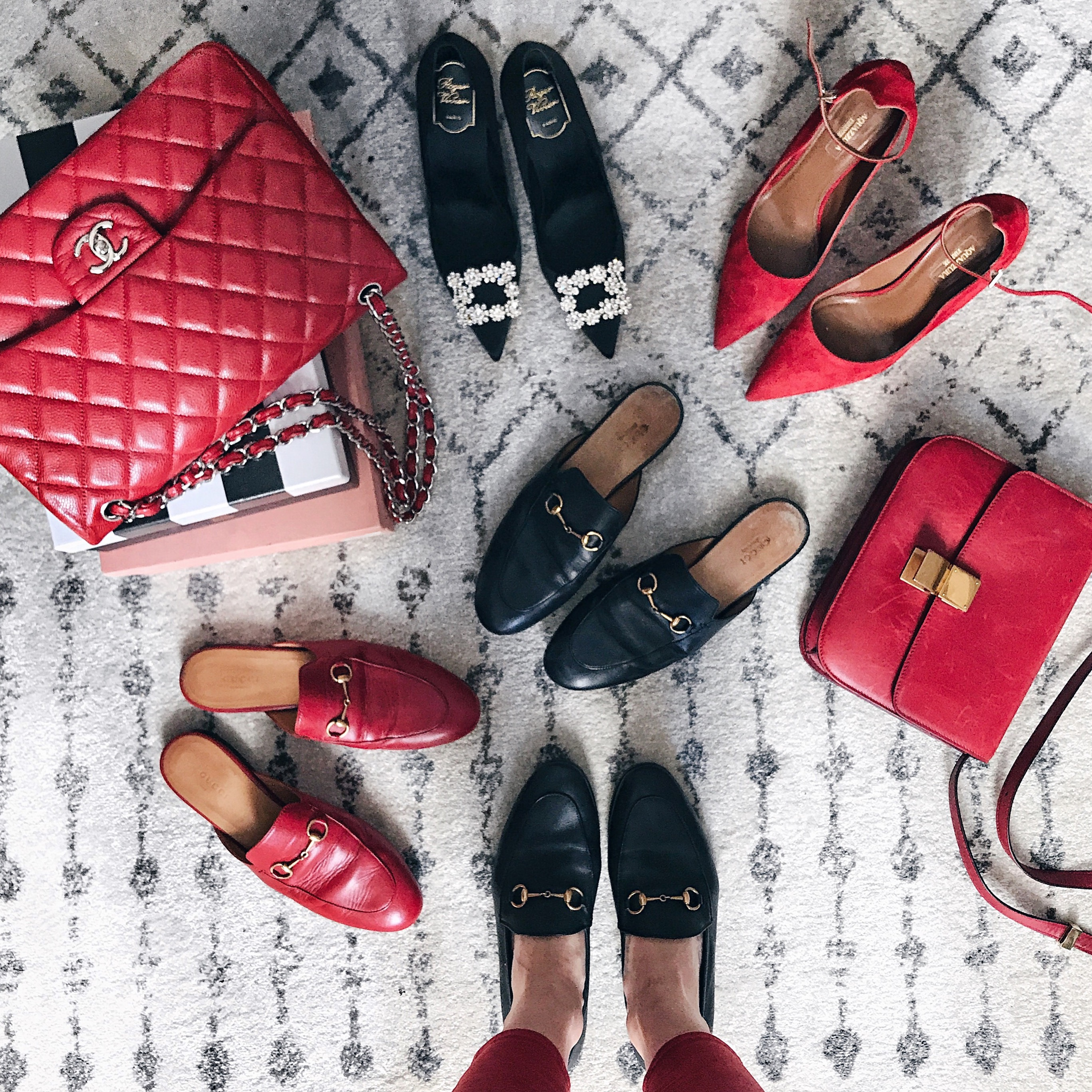 Gucci Princetown Loafers, Aquazzura Flats, Red and Black Details, Helena of Brooklyn Blonde