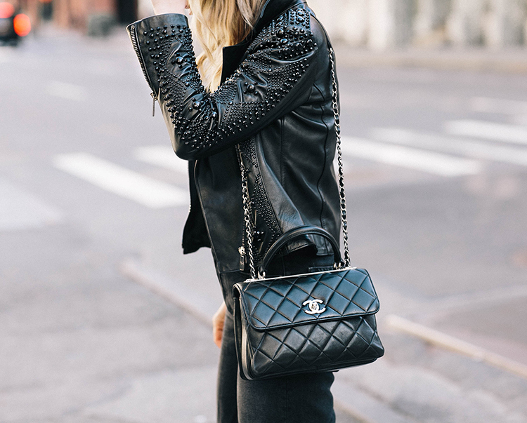 Nour Hammour, Leather Jacket, Chanel Trendy CC Bag, Helena of Brooklyn Blonde