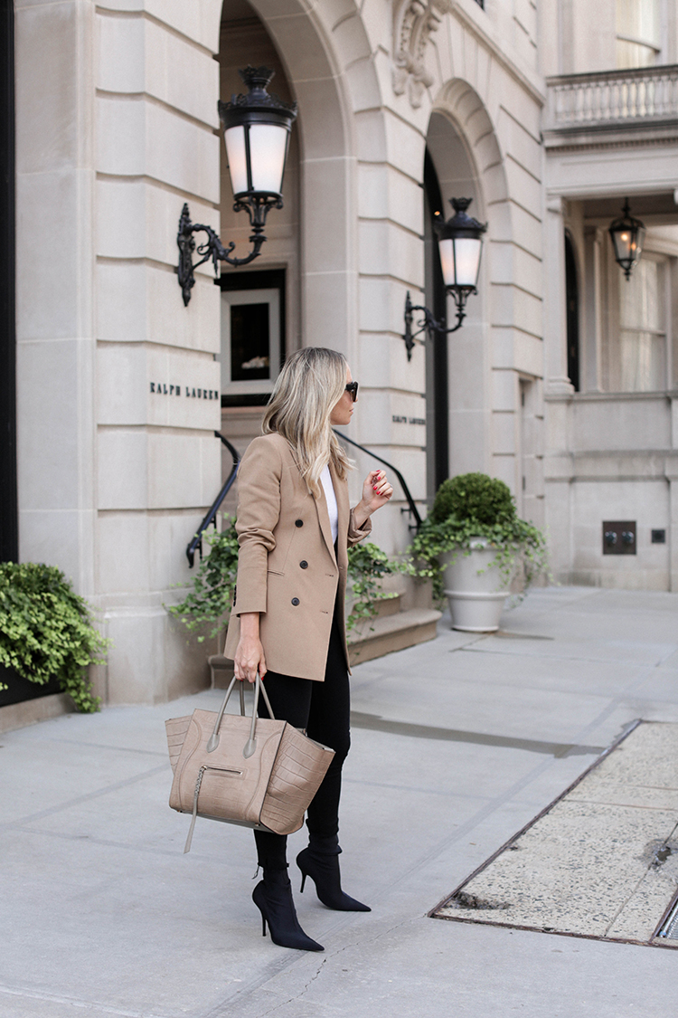 Camel Theory Blazer, Spring Outfit, Beige and Black, Helena of Brooklyn Blonde