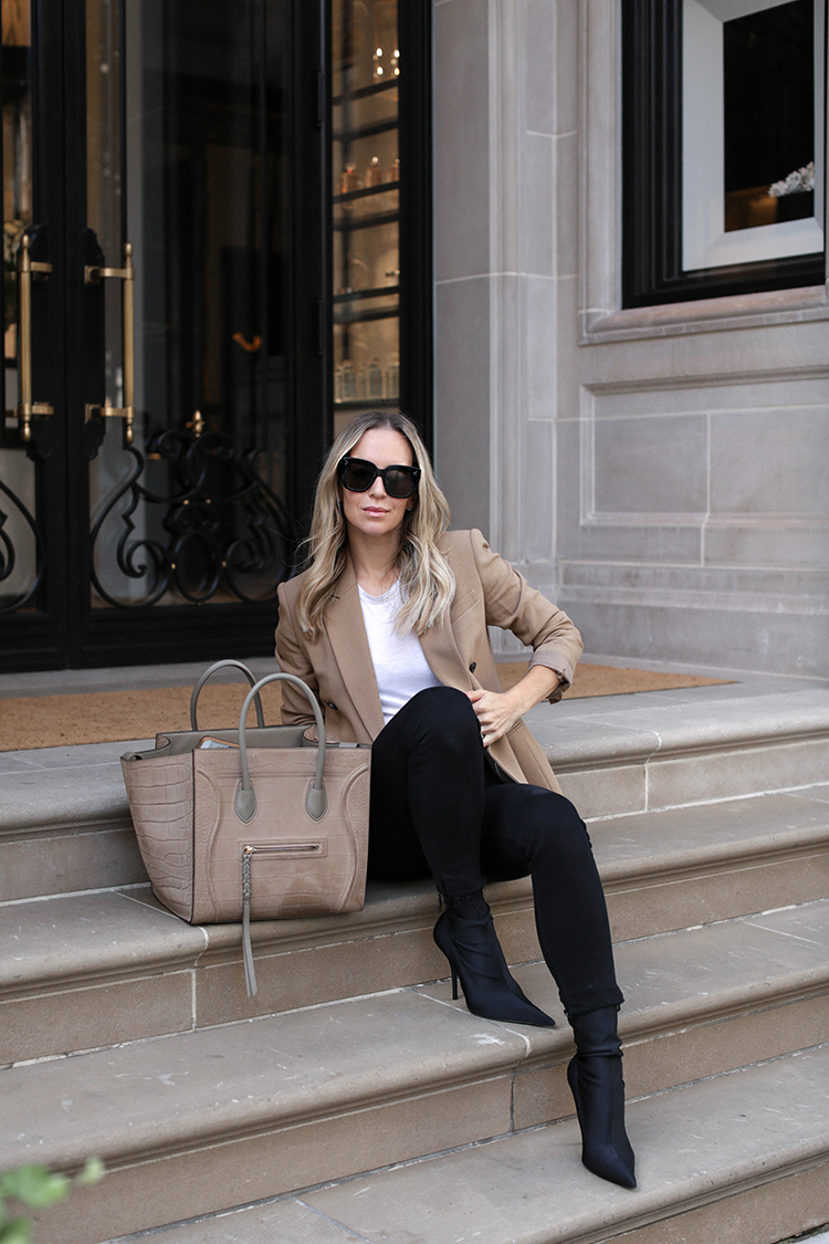 Camel Theory Blazer, Celine Tote, Spring Outfit, Helena of Brooklyn Blonde