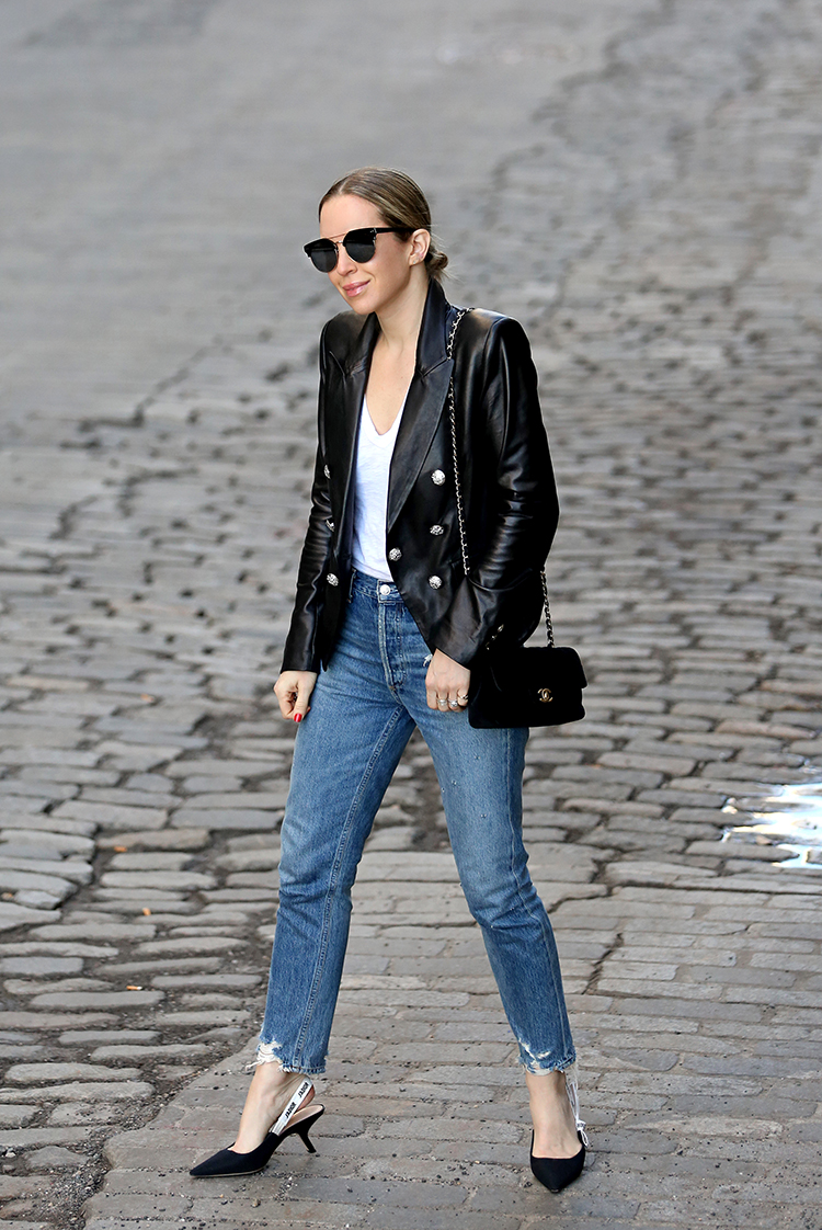 Leather Jacket and Denim Outfit, Spring Style, Helena of Brooklyn Blonde