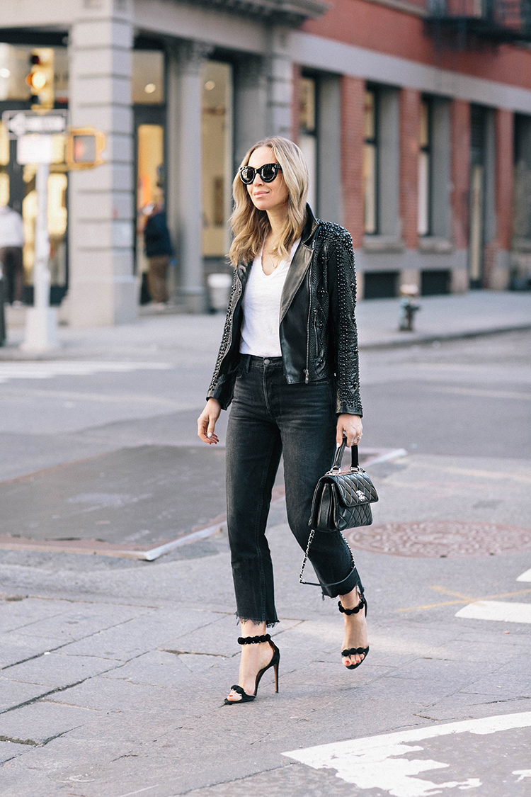 Nour Hammour Leather Jacket, Alaia Shoes, Chanel Trendy CC Bag, Helena of Brooklyn Blonde