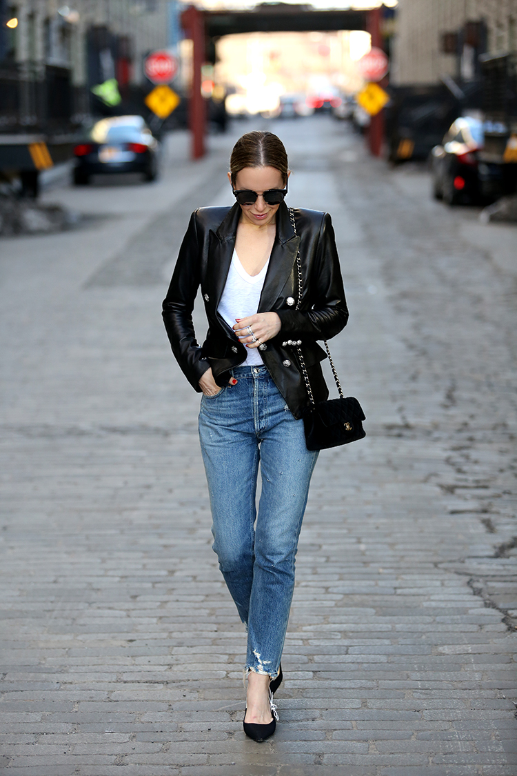 New York Spring Style, Leather and Denim, Helena of Brooklyn Blonde