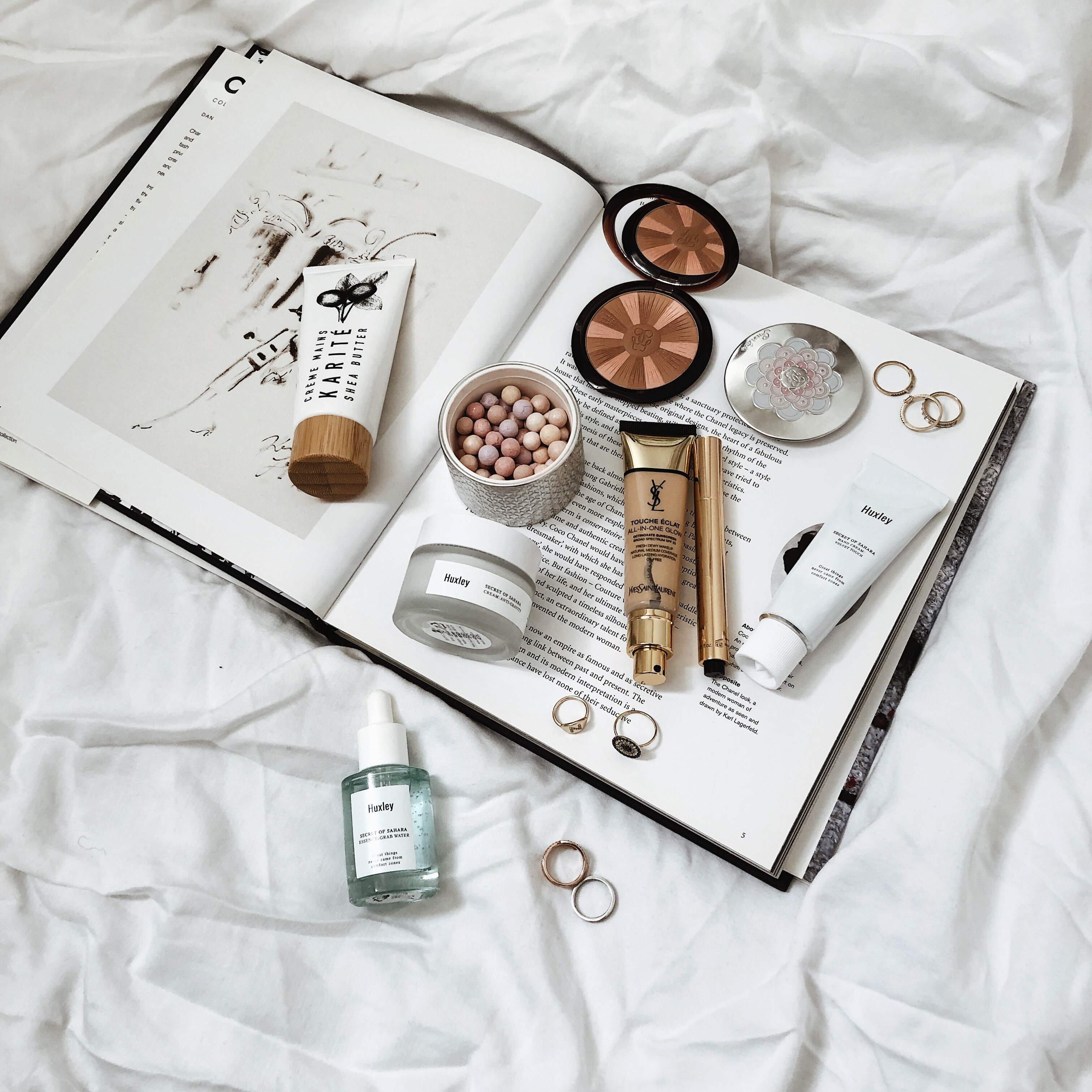 Monthly Beauty Favorites, April Skincare, Flat Lay, Helena of Brooklyn Blonde