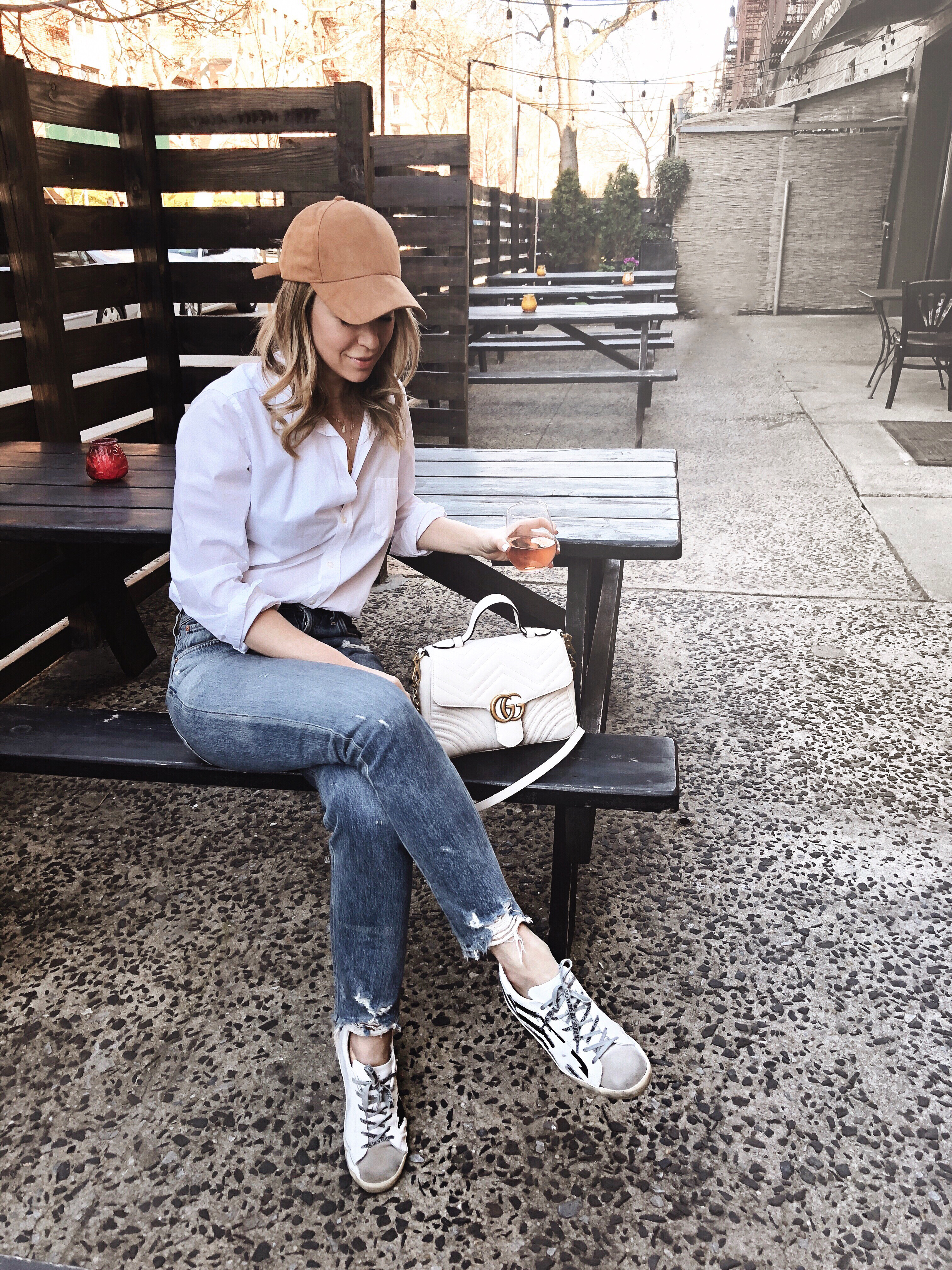 casual style, golden goose sneakers, Gucci marmot bag, Helena glazer of Brooklyn blonde.