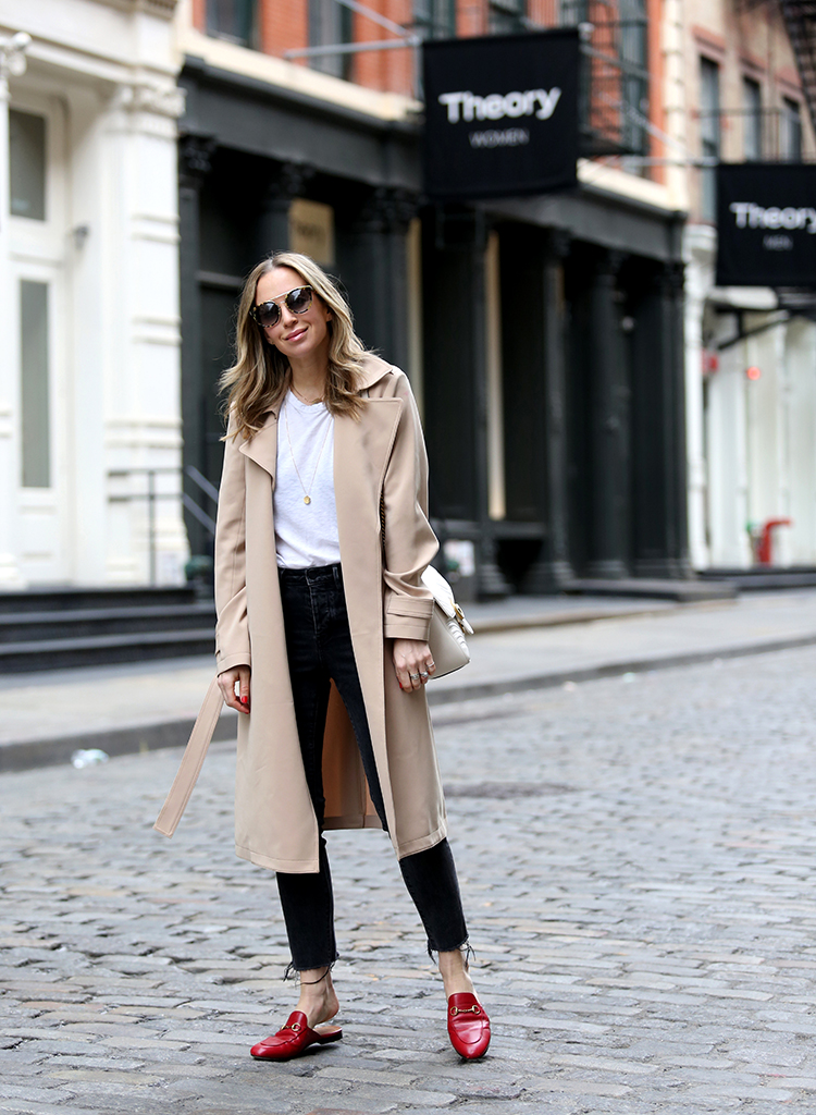 Beige Trench Coat, Gucci Red Princetown Slides, Helena of Brooklyn Blonde