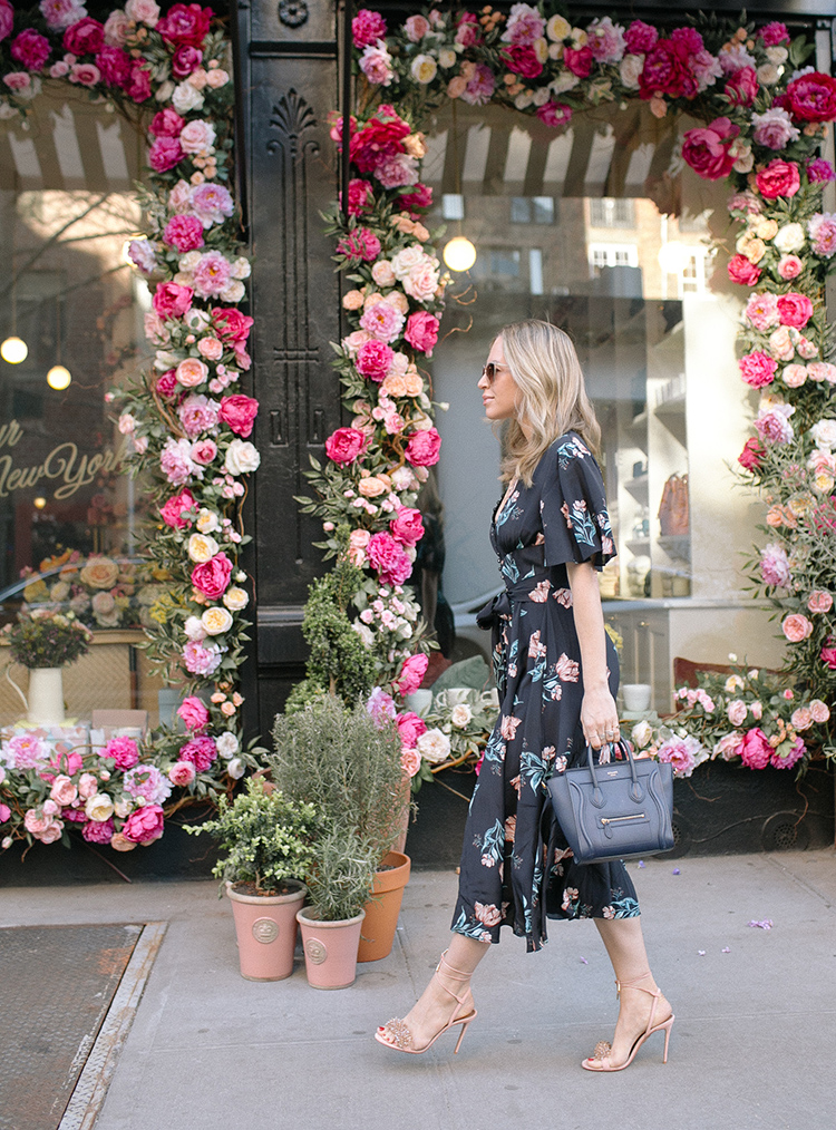 Nicholas Piper Floral Midi Dress, Celine Bag, Spring Style, Helena of Brooklyn Blonde