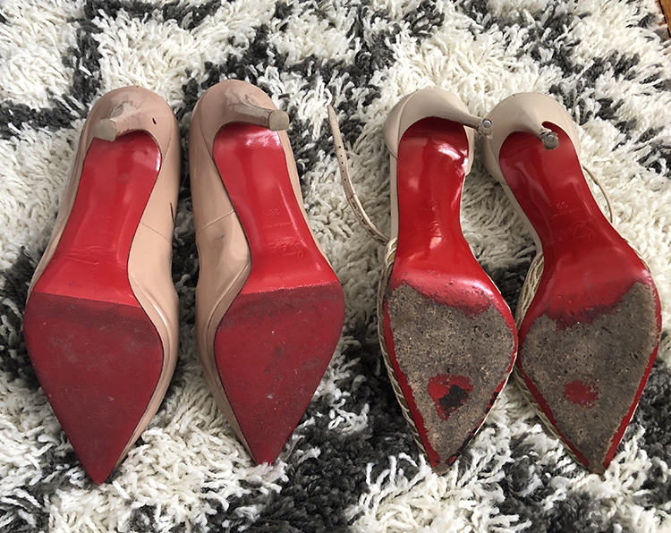 Before and After Christian Louboutin Pumps Red Bottom Sole Repair, Brooklyn Blonde