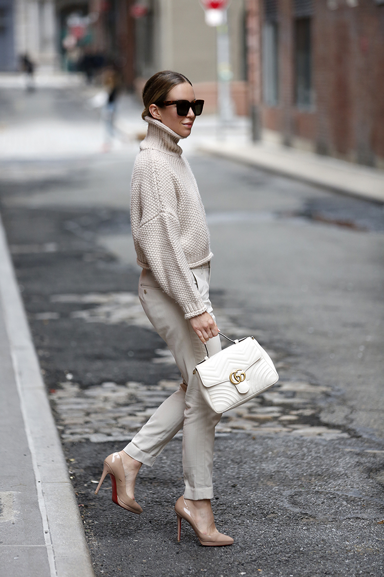 Cozy Summer Outfit, Gucci White Marmont Bag, Helena of Brooklyn Blonde