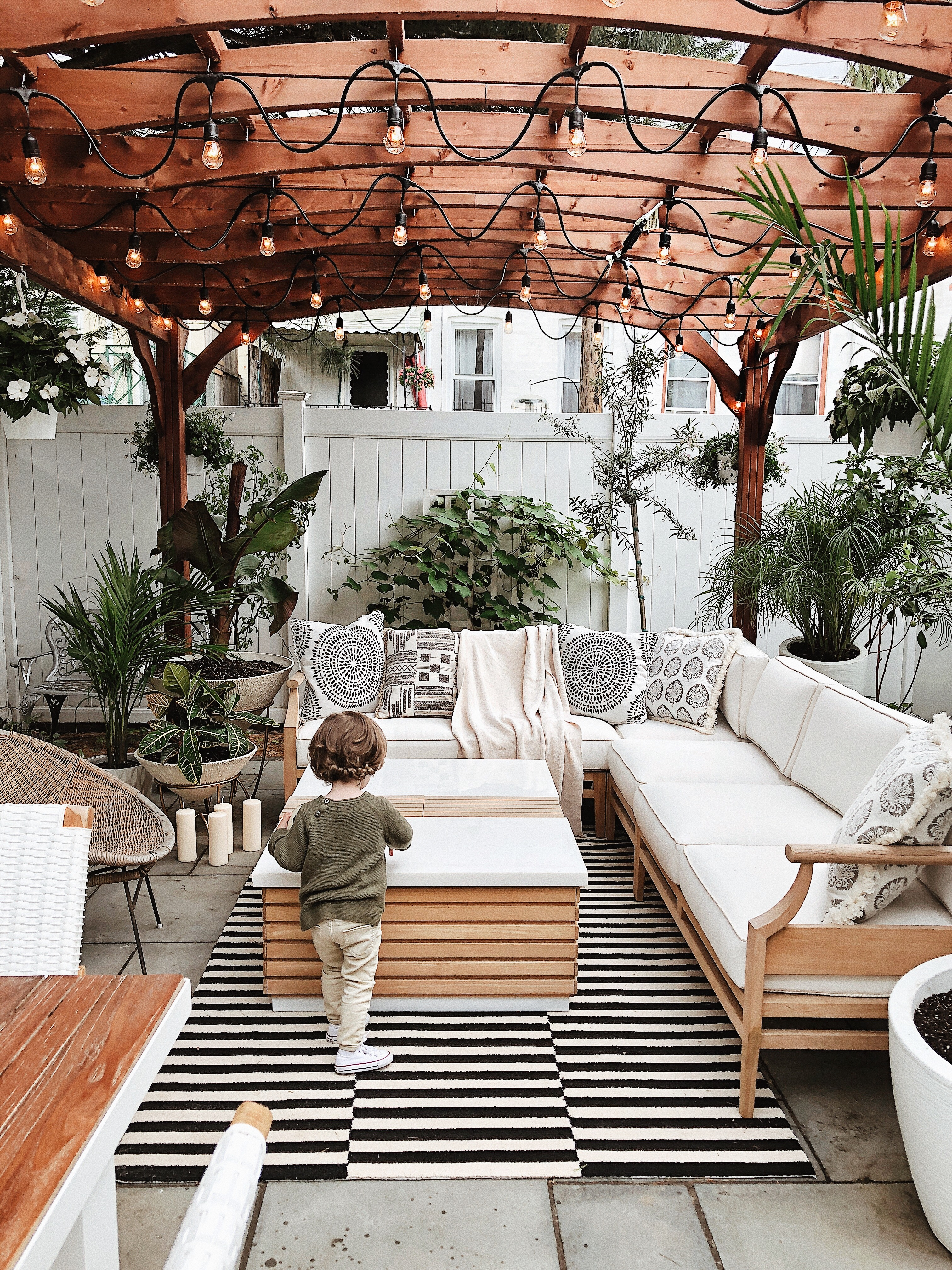 Urban backyard, backyard inspiration, Brooklyn backyard, backyard with pergola.