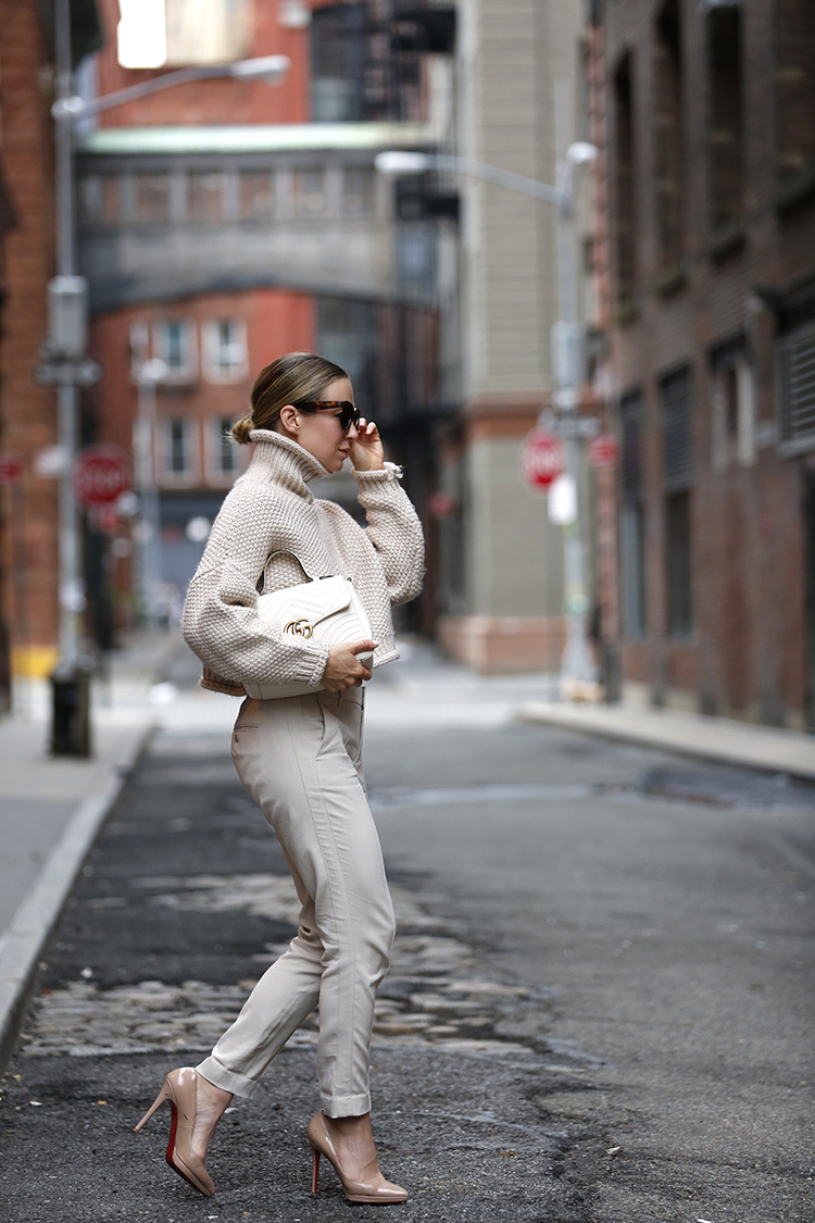 Monochromatic Cream Outfit, Helena of Brooklyn Blonde