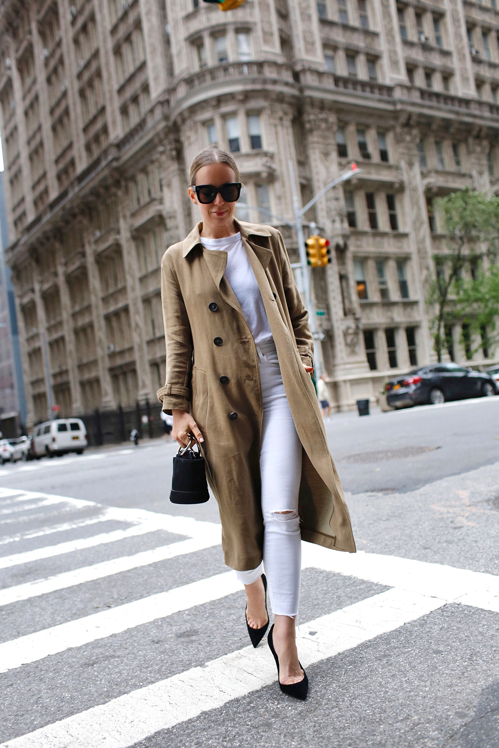White & Tan Outfit, Street Style, Helena of Brooklyn Blonde