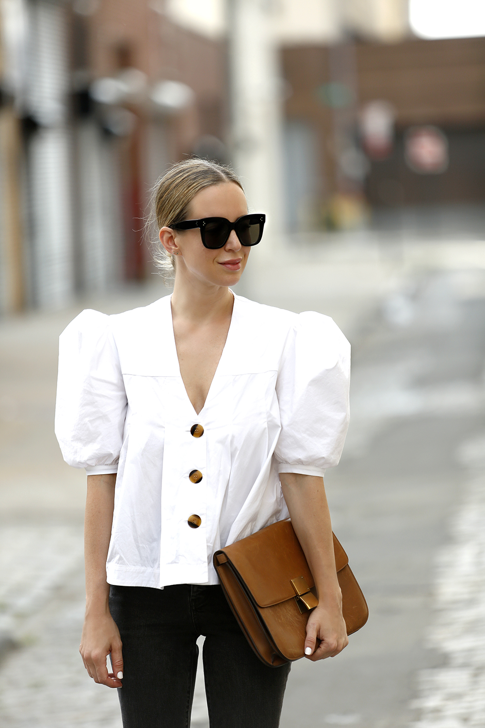 Petersyn Blouse, Celine Tilda Sunglasses, Celine Clutch, Helena of Brooklyn Blonde