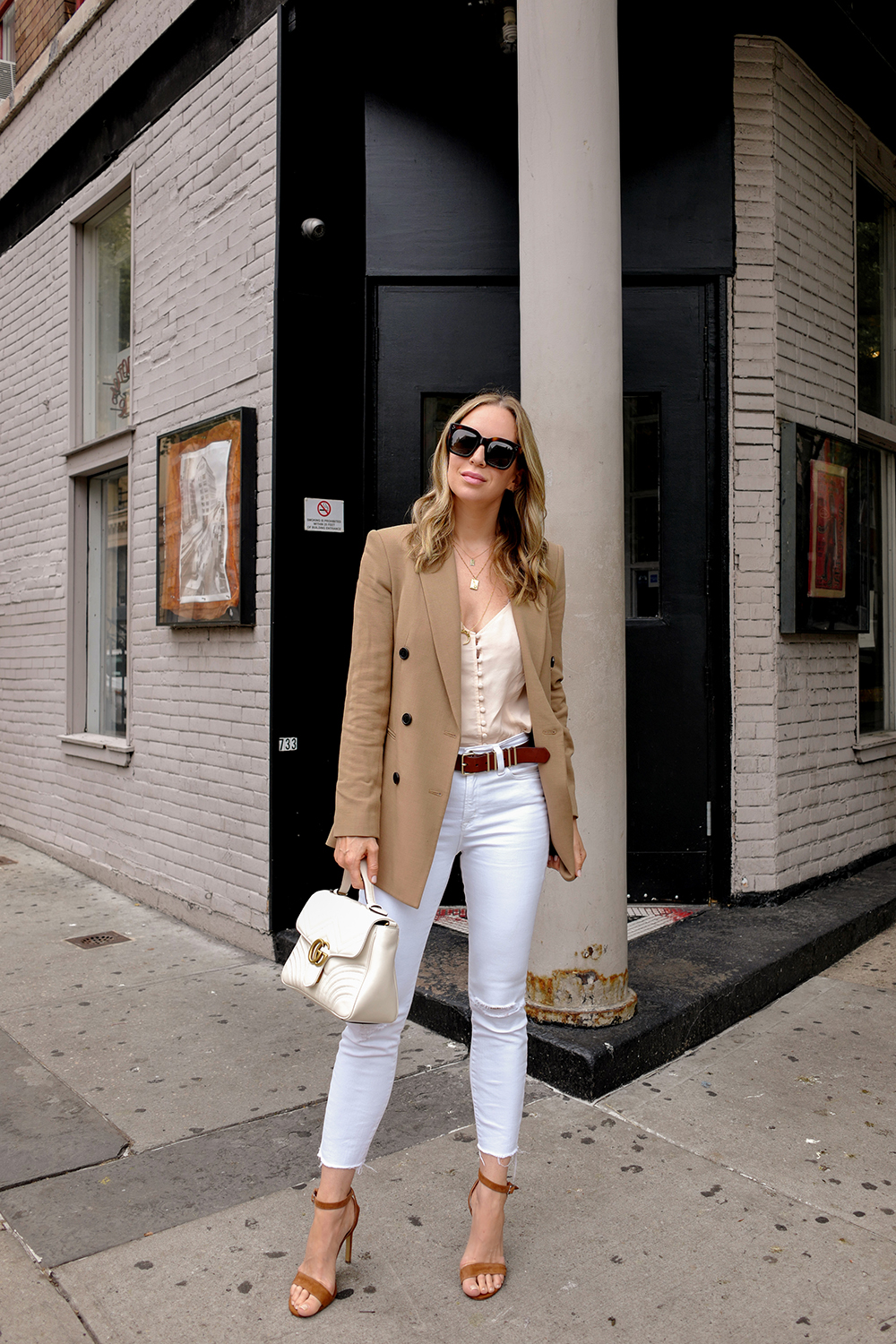 Theory Blazer, White & Tan, 9-5 Work Outfit, Helena of Brooklyn Blonde