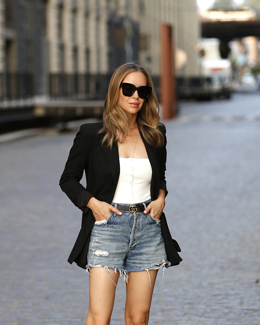 AGolde Denim Cut Off Shorts, Toyshop Blazer, Helena of Brooklyn Blonde