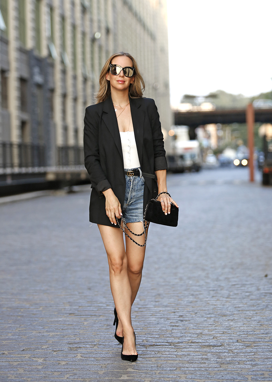 Denim Shorts, Blazer Outfit, Summer Style, Helena of Brooklyn Blonde