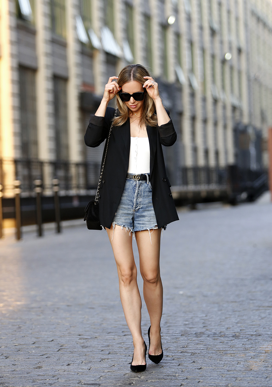 Snazzing Up Denim Shorts, Summer Outfit, Helena of Brooklyn Blonde