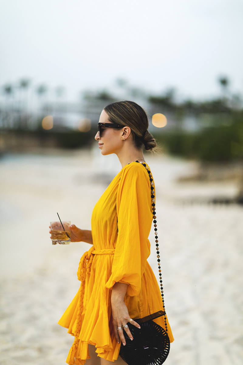 Rhode Yellow Dress, Cult Gaia Black Round Bag, Anguilla, Travel Ideas and Outfit, Helena of Brooklyn Blonde